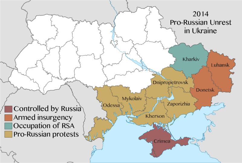 2014 pro-Russian unrest in Ukraine. Wikipedia CC–BY–SA.
