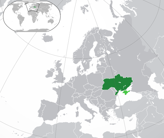 Location of Ukraine in Europe. Wikipedia CC–BY–SA