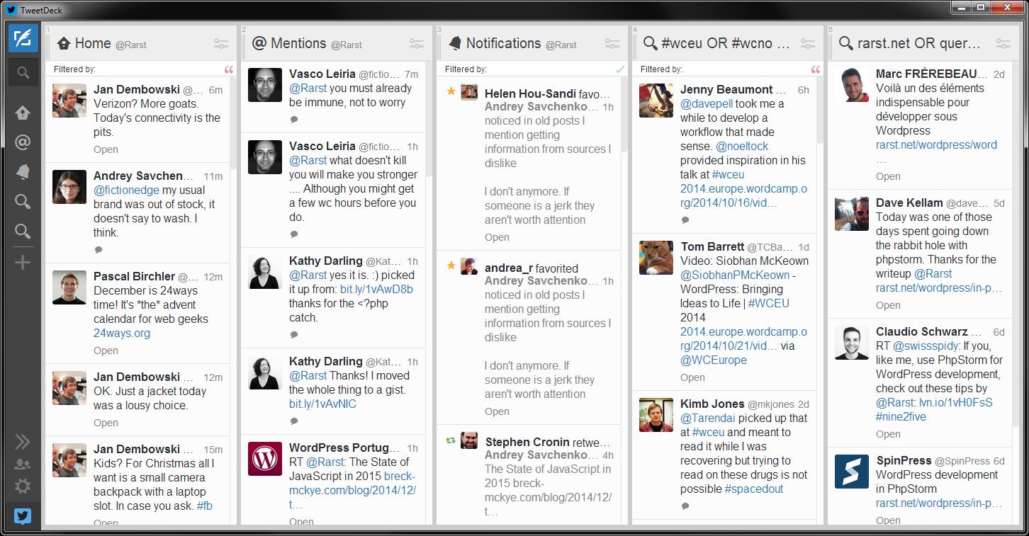 My TweetDeck columns.