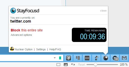 StayFocusd interface
