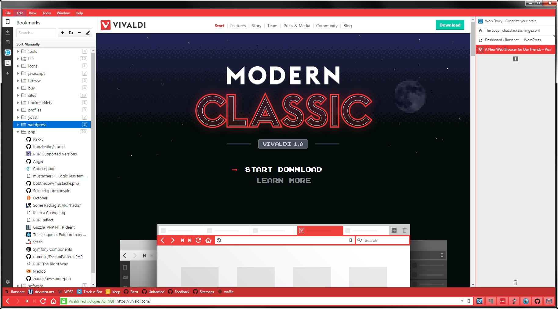 Vivaldi browser interface.
