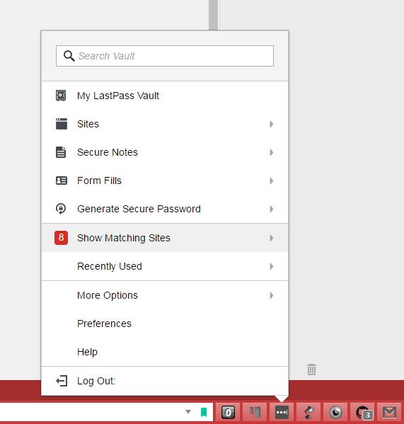 LastPass interface
