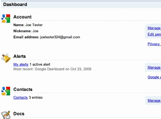 google_dashboard_interface