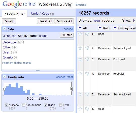Google Refine interface