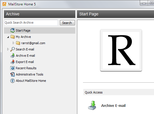 MailStore Home interface